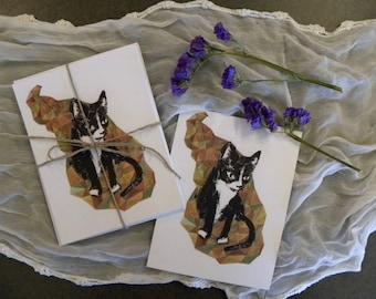 Tuxedo Cat Cards --- 12 postcard stationery set