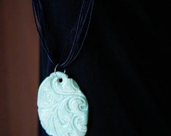 Textured Paisley Ceramic Pendant