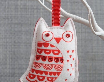 Hand screen printed, owl Christmas ornament