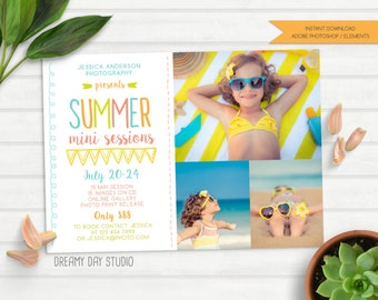 summer mini, summer mini session, photography template, mini sessions for photography, beach, flyer, brochure, photoshop, spring, instant