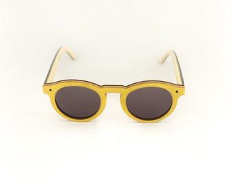 Lunettes de soleil 7PLIS jaune gris skateboards usagés recyclés #BOWL