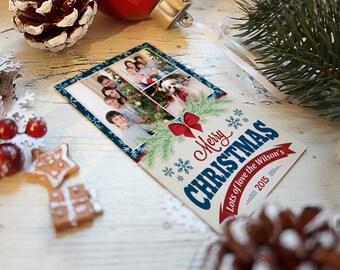 Photo Christmas Cards, 3 photos, greeting cards, holiday cards, americana style, americana cards