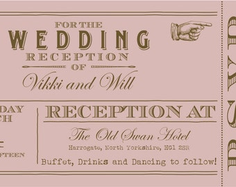 50 Pink Vintage Shabby Chic Ticket Wedding Invitations!