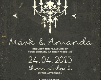 SAMPLE Old Rustic Chalk Board Chandelier Vintage candle birds Wedding Invitations!