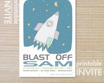 kids invitation - boys invitation - rocketship - childrens invitation -  printable invitation - blast OFF