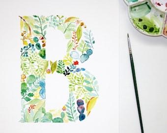 Watercolour Letter B Wall Art Print, Personalised Nursery Print, Letter Art, Botanical Painting, Kids Decor, Initial Print