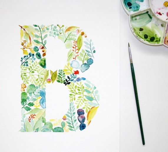 The Letter B Wall Decor : Watercolour letter b wall art print personalised nursery