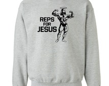 Reps for Jesus muscle fitness work out exercise cross training fit running christian - Crew sweatshirt - apparel clothing - IIT393