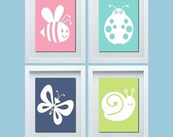 Cute Nursery Wall Art, Bee Ladybug Butterfly Snail Print, Baby Girl Nursery Wall Art, Baby Girl Nursery Decor, Choose Your Colors