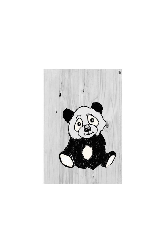 Panda bear print bear wall art panda art panda bedroom for Panda bear decor
