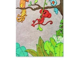 First birthday card, birthday party card, jungle animals, boy birthday card, jungle theme baby shower, jungle birthday card