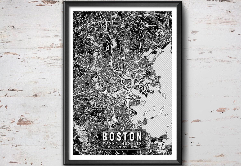 Boston Map with Coordinates Boston Wall Art