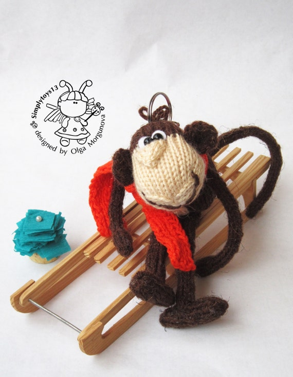 Keychain monkey (two in one)- knitting pattern (knitted ...