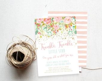 Twinkle Twinkle Little Star Birthday Invitation, Watercolor, Printable Invite (776)