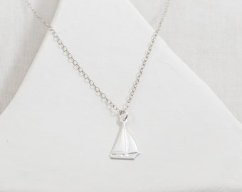 Sailboat necklace. sterling silver. nautical jewelry. sailor gifts. sailing spinnaker. travel. yacht life seven seas cape cod nantucket life