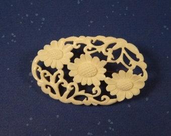 SALE!  REDUCED PRICE!  Carved Bone Flower Brooch