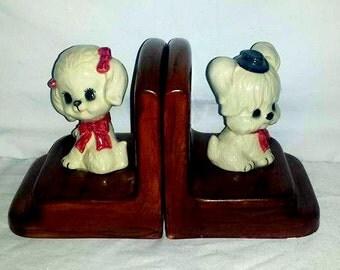 Vintage Kitsch Puppy Bookends,Puppy Bookends,Dog Bookends,Kitschy Dog,Puppy,Dog,Vintage Kitsch,Japan, Dog Figurine, Kitsch,Circa 1960s