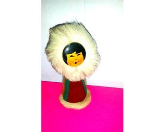 Vintage Inuit Doll,Real Fur,Leather,Wood, Vintage Intuit Figurine,Hand painted Wooden Face Doll, Eskimo Doll, Alaskan, Native