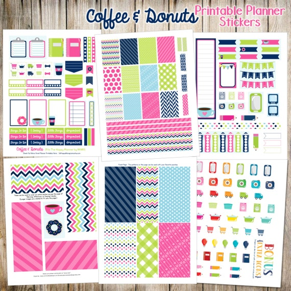 Coffee & Donuts Printable Planner Stickers - 6 Full Pages!  (Made to fit The Happy Planner by MAMBI - Create 365)