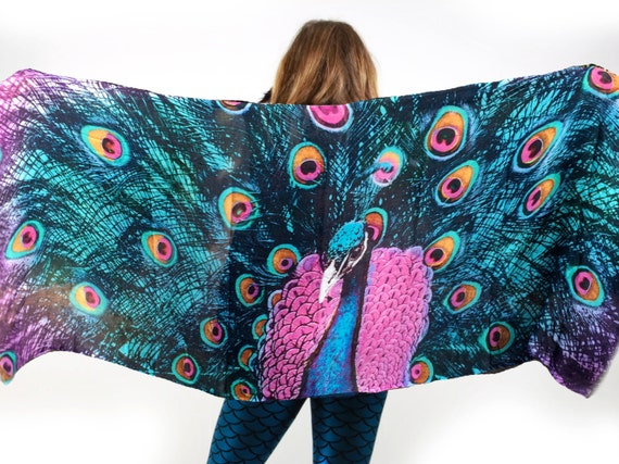 Turquoise peacock scarf feather scarf peacock print bird for Portent of item protection