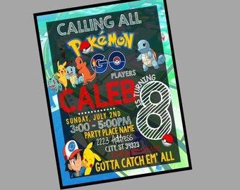 Pokemon Invitations, Chalkboard Pokemon Invitation, Pokemon Party, Pokemon go birthday, Pokemon Invite