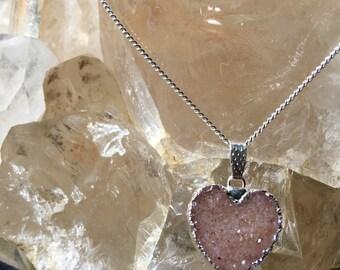 Sparkling Agate Druzy Heart Necklace, Druzy Heart Necklace