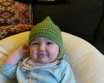 baby pixie hat/crocheted/elf/gnome/faerie/pointed/HAT!  3- 9 months baby