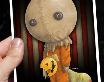 """Creepy birthday horror movie card """"TRICK'R TREAT"""" Sam. Instant download. TWO printable archive, with and without text. Horror birthday card."""