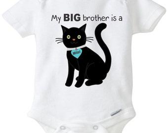 My Big brother is a Cat baby onesie cat onesie funny onesie custom onesie personalized baby shirt Baby shower gift family pet