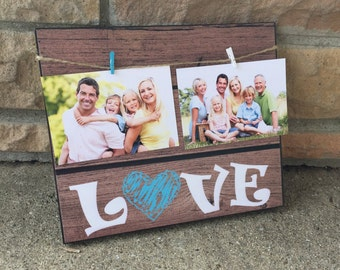Love Picture Frame, Rustic Wood Picture Frame, Burlap Bow, Wedding Gift, Family Gift, Gift For Her, Couples Gift