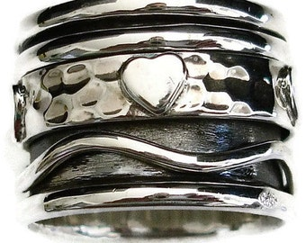 Handmade Wide Sterling Silver Heart Detail Spinner Ring, Worry Ring, Meditation Ring, Spinner Ring, Thumb Ring, Mistry Gems, SP20