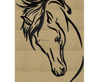 Horse Head - EMBROIDERY DESIGN file - Instant download Exp Jef Vp3 Pes Dst Hus formats - 2 sizes one color