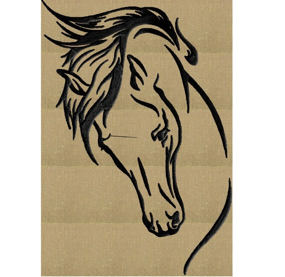 Horse Head EMBROIDERY DESIGN File Instant Download Exp Jef