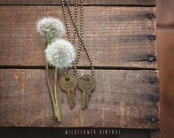 wild & free key necklace | stay wild hand stamped vintage