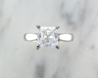 Princess Cut Solitaire Diamond Engagement Ring - 7mm Stone - 14K White Gold or Platinum - Affordable Engagement Setting