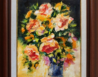 Roses oil painting, Original Floral Impasto painting on canvas, Palette knife painting, Flowers Wall art decor, Colorful Floral Still life