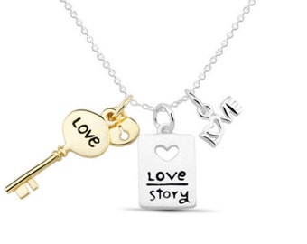 Sterling Silver Inspirational Jewelry-Sterling Silver Love Story Pendant