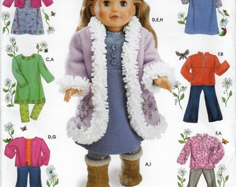 """18"""" Doll Clothes Sewing Pattern, American Girl Doll Clothes Sewing Patterns, Doll Clothes Pattern, Uncut Sewing Pattern, Simplicity 4786"""