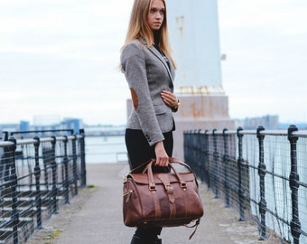 Leather Handbag, Women's Leather Bag, Small Duffle Bag, Boho, Carry Lite Holdall, Lightweight Luggage, Carry on Baggage, Vegetable Tanned