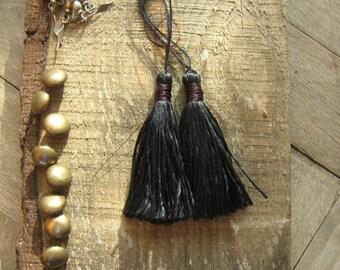 6cm Silk Tassels, Silky Luxe Jewelry Tassels, Black Tassels for Jewelry, Long Silk Tassel, Mala Tassels, Boho Tassels, Mini Earring Tassels