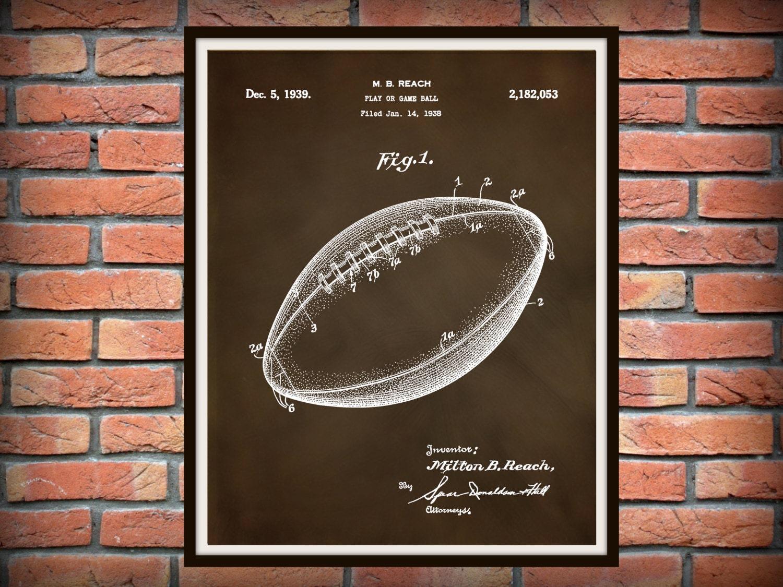 patent 1939 football art print poster sports wall art nfl