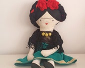 FRIDA KAHLO rag doll, Mexican art doll for collectors, Handmade 21'' Frida cloth doll
