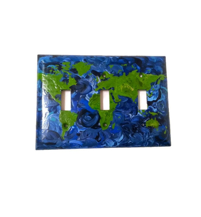 Map Light Switch World Map Hand Painted Triple Light