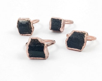 Black Tourmaline Rings | Rough Black Tourmaline | Raw Black Tourmaline Rings | Electroform Rings | Crystal Rings | Stone Ring | Bare Copper