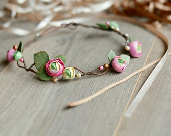 Bridal floral crown Wedding flower crown Boho flower crown Bridal hair wreath Bridal tiara Wedding hair wreath bridesmaid Gift Flower girl
