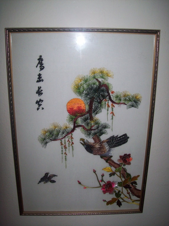 Chinese Silk Embroidery Booted Eagle Textile Art Signed