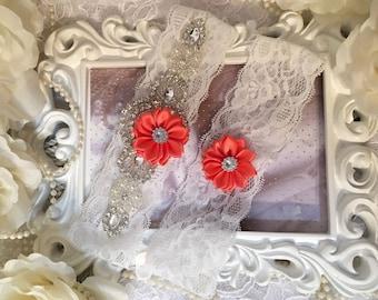 Bridal garter set/Rhinestone garter/Lace garter/Prom garter/bridal fashion/coral garter/coral wedding/coral/spring wedding