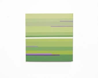 Lime Green Painting, Stripe Painting Original Art by Ytterberg Studio 8 x 8