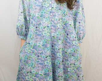 Puff Sleeve Floral Print A-line Dress Pastel Colours 1980s