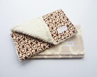 Burp Cloth set- Set of 2- Gender Neutral burp cloths, chenille burp cloths- brown and beige burp cloths